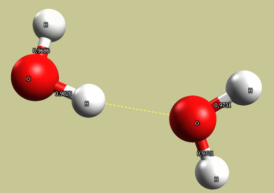Hydrogen bond (yellow dashed line) between the two water molecules, pay attention to the molecules orientation